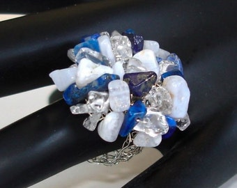 Spring Summer Fashion Ring Crochet Knitted Silver Lace Moonstone Lapis Crystal Rock Quartz / size made to order / Cute and Dreamy