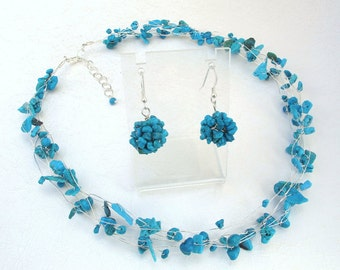 Turquoise Blue Necklace and Earrings, Bridesmaid Jewelry Set, Silver Gemstone Jewelry, summer nautical colors weddings accessories