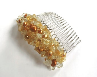 Citrine Yellow Hair Comb Fashion Jewelry Bridal Hair Wedding Honey Amber Crochet Wire Wrapped Silver Rustic Earthy Colors