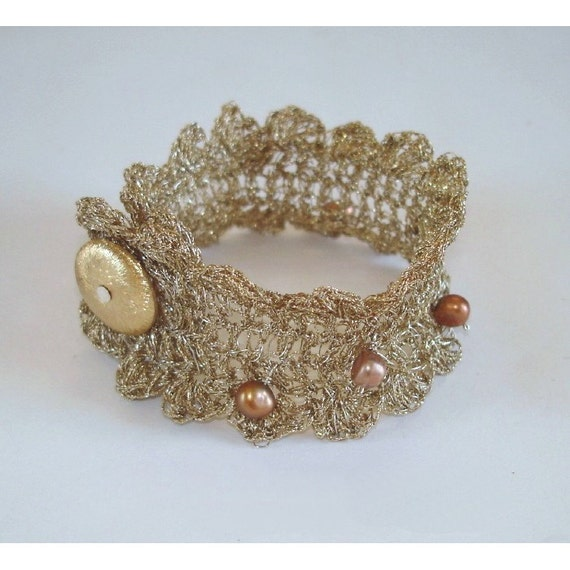 Gold Lace Bracelet Jewelry Silver Hand Crocheted Jewelry Unique Wedding Metallic Natural Precious Thread and Pearls