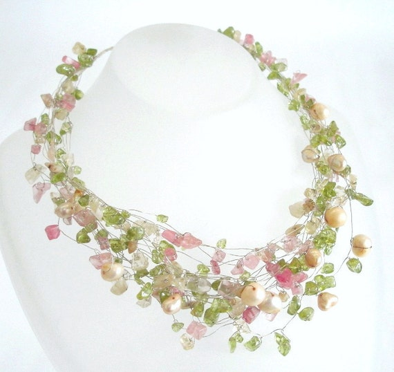 Multi color Pastel Necklace Silver Statement Wedding Natural Real Citrine Peridot Pink Cherry Quartz Pearls Jewelry Women gift for her