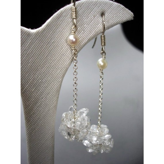 Long Earrings Clear Quartz Crystal Crochet Cluster Long cluster Spring wedding gift Bride bridal accessories