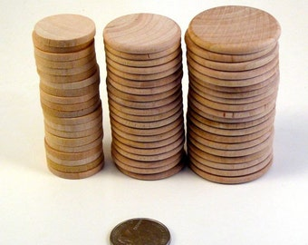 60 Wood Disks - Three sizes of blank coins