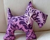 ANNIVERSARY SALE Stuffed Scotty Dog - Purple Damask