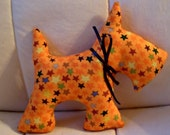 Stuffed Scotty Dog - Halloween - Orange with Stars