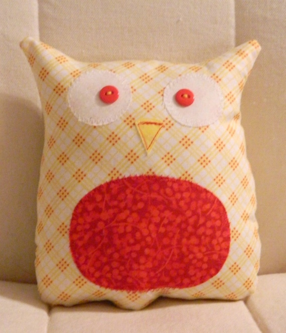 Ollie the Owlet - Stuffed Owl - Yellow Plaid with Red Belly