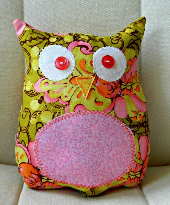 Ollie the Owlet - Stuffed Owl - Pink and Yellow