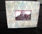 Distressed Blue and Silver Damask Picture Frame