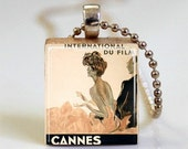 Cannes Film Festival Scrabble Tile Pendant (ITEM S394) Free Ball Chain Necklace or Key Ring