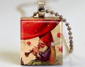 Musical Garden Gnome Scrabble Tile Pendant  with Ball Chain Necklace Included (ITEM S421)