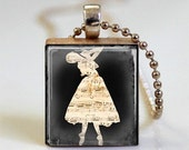 Sheet Music Ballerina  Jewelry Scrabble Tile Pendant  with Ball Chain Necklace Included (ITEM S301)