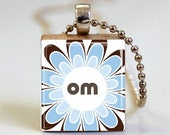 Yoga Jewelry Om Sky Blue Scrabble Tile Pendant with Ball Chain Necklace Included (ITEM S018)