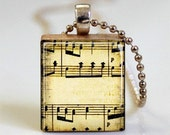 Sheet Music Jewelry Musicians Music Notes Scrabble Tile Pendant with Ball Chain Necklace Included (ITEM S332)