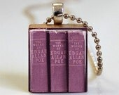 Edgar Allan Poe Book Necklace The Raven Nevermore Edgar Allen Poe Scrabble Tile Pendant with Ball Chain Included (ITEM S496)