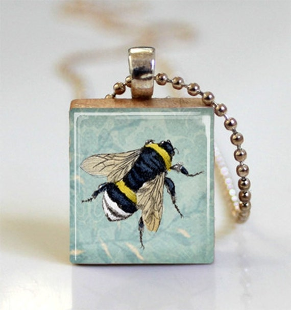 Honey Bee Necklace Bumblebee on Blue Floral Background Scrabble Tile Pendant - Ball Chain Necklace Included (ITEM S725)