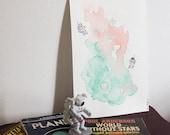 Destination: Nebula - Original Watercolour and Ink illustration