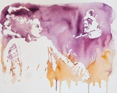 Love At First Fright - Bride of Frankenstein and Monster original watercolour painting