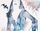 Vampira - Horror Hostess - original watercolor painting