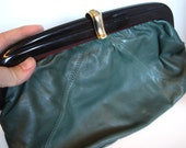 Vintage Dark Teal Clutch with tortoiseshell plastic frame and U clasp