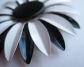 Black and White Ball 1960s Sunflower Pin