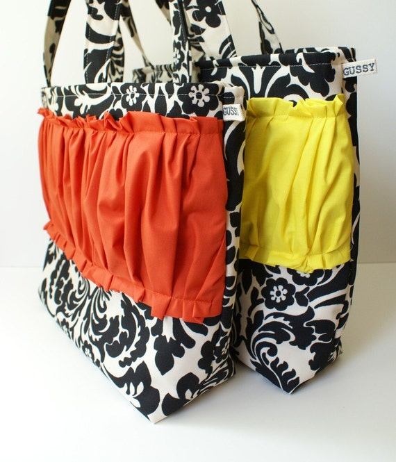 Gussy Tote - damask, choose your ruffle color