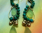 TURQUOISE and CHALCEDONY DANCE long earrings