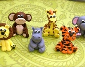 Edible 3D Fondant Jungle Safari animal set -(6)- Jungle Animals - cake and cupcake toppers