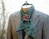 Cashmere scarf Stripe loop neck warmer Pine Green vintage cashmere scarflette
