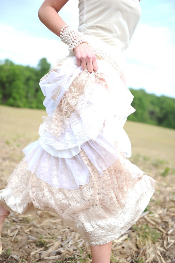 Wedding dress  Strapless Tattered Boho Rustic Ruffled Romance- Sample Only One