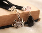 Ribbon Bookmark Book Thong - Jewel - The Queen - Black Pink - Gemstone - Crown