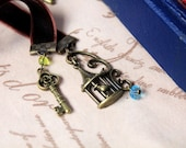 Ribbon Bookmark Book Thong - Birdcage and The Key - Jewel - Antiqued - Brass - Velvet
