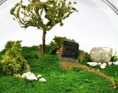 "Reduced - Lost Love - a Miniature Terrarium Garden - (4"" diameter) Sale"