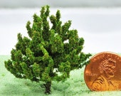 Set of two small Evergreen trees - Miniature Garden or train set accessory
