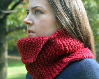 Knitting Pattern - Assymetrical Neck Cowl - Easy - Beginner