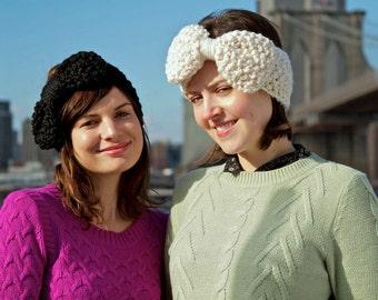 Easy Beginner Knitting Pattern - Oversize Bow Headwarmer - Digital Download