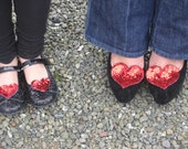 Small Red Heart Shoe Clips in Sequins & Beads - Handmade