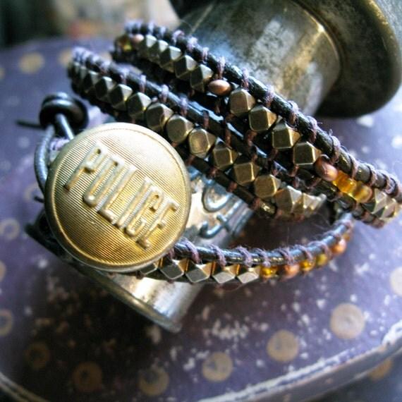 Brass Triple Wrap Bracelet with Vintage POLICE Button