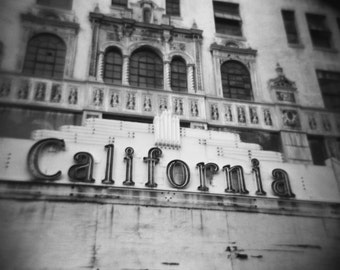 Black and White Architecture Photography - Vintage California Typography Print