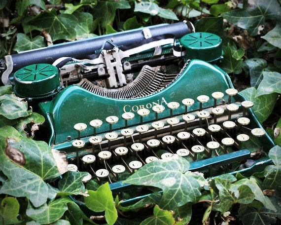 Vintage Green Typewriter Photo Print - Still Life Photography
