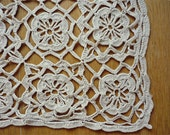 Vintage square doily, off-white