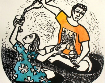 Flow (Linocut of a Man and a Woman)