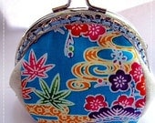 FREE SHIPPING - Handmade Coin Purse Okinawa Blue
