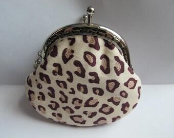 FREE SHIPPING - Little Handmade Coin Purse Leopard Print