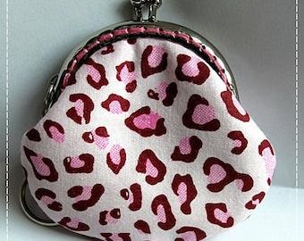 FREE SHIPPING - Little Handmade Coin Purse Leopard Print Pink
