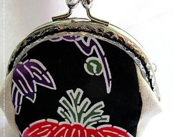 FREE SHIPPING - Handmade Coin Purse Okinawa Black (P17001)