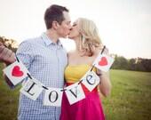 Love Sign | Love Banner With Hearts | Wedding Decoration | Engagement Photo Prop | Garland Wedding Banner | Love