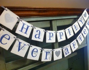 Happily Ever After Banner | Wedding Sign | Wedding Decoration | Wedding Garlands | Navy and Silver