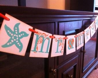 Mr. & Mrs. Wedding Beach Banner | Beach Wedding Decoration | Beach Wedding Banner | Beach Wedding Sign | Turquoise and Orange