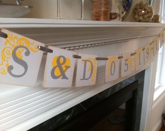 Initials and Date Wedding Banner / Save The Date Wedding Sign Banner Photo Prop Engagement Party