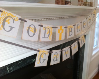 God Bless With Your Childs Name Double Garland Baptism Banner / Baby Shower / Christening / First Communion / Custom Colors Welcome